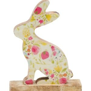 """BUNNY BOULEVARD 9"""" Wooden Floral Rabbit with base"""